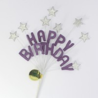 Deep Lilac Happy Birthday & Silver Stars Cake Topper Spray