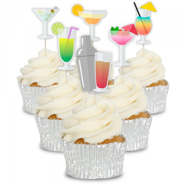 Colourful Cocktails Cupcake Toppers - 12pk