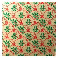 """10"""" Square Gold with Holly Christmas Cake Card"""