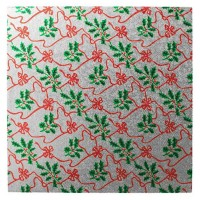 """10"""" Square Silver with Holly Christmas Cake Card"""