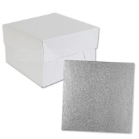 Silver Square Cake Drum and Box