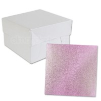 Square Baby Pink Cake Drum and Box