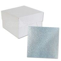 Square Baby Blue Cake Drum and Box