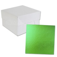 Square Grass Green Cake Drum and Box