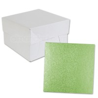 Square Pale Green Cake Drum and Box