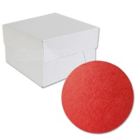 Round Red Cake Drum and Box