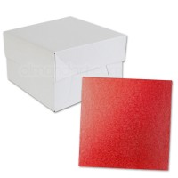 Square Red Cake Drum and Box