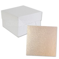 Square Rose Gold Cake Drum and Box