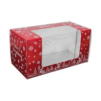 "Christmas Printed Window Yule Log Box 8""x4""x4"""