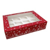 Christmas Printed Window 12 Cupcake Box