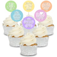 Pastel Mothers Day Cupcake Toppers -12pk