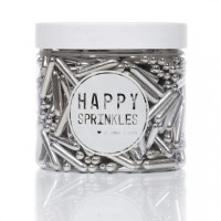 Happy Sprinkles Silver Sugar Rod Sprinkles - 90g