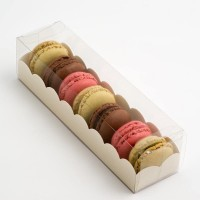 Clear Macaron Box With Antique White Scalloped Insert - Holds 7/8 - Pack of 10