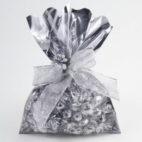 Clear Fronted Silver Metallic Gift Bags - 16 x 24cm - 10 Pack