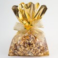 Clear Fronted Gold Metallic Gift Bags - 16 x 24cm - 10 Pack