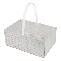 Wicker Design Cupcake Basket With Handle - Holds 6