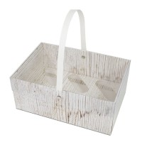 Wood Effect Cupcake Basket With Handle - Holds 6