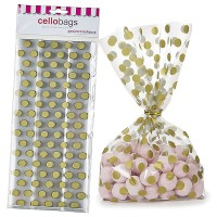 20 Gold Polka Dot Cello Bags With Ties - 125mm x 285mm
