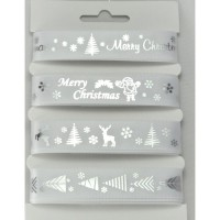 White & Silver Merry Christmas Ribbon Selection Pack - 4 x 2m