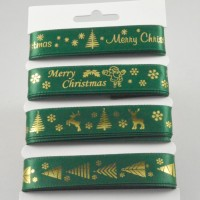 Green & Gold Merry Christmas Ribbon Selection Pack - 4 x 2m