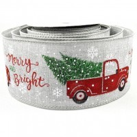 Festive Delivery Wired Jute Ribbon - 63mm x 1m
