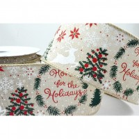 Christmas Message Wired Jute Ribbbon - 63mm x 1m
