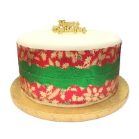 """Red Holly Christmas Cake Frill - 3½"""" x 34"""""""