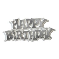 'Happy Birthday' White/Silver Motto